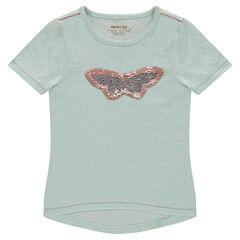 T-shirt met korte mouwen van gemêleerde jerseystof met volants en vlinder van magische lovertjes