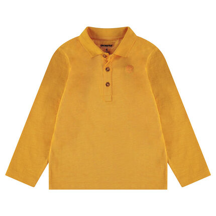 Polo van slub jerseystof met lange mouwen en print met logo