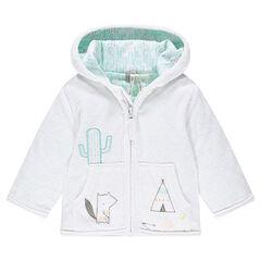 Vest met gevoerde capuchon met jersey met prints en borduursels