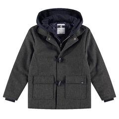 Junior - Manteau style duffle coat en drap de laine avec capuche