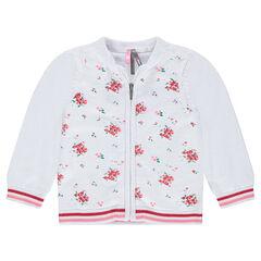 Dunne vest van tricot met contrasterende bloemen van jacquard