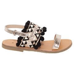 Gouden sandalen uit leder in etnische stijl en met pompons