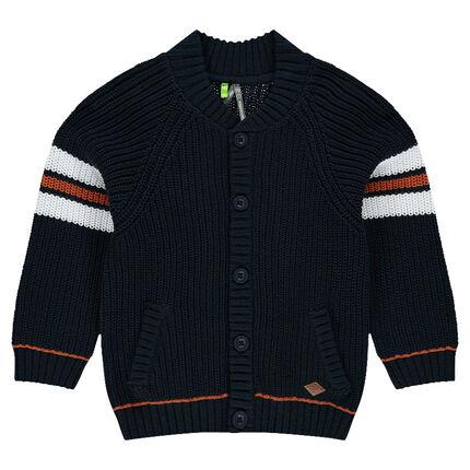 Gilet en tricot avec bandes contrastées