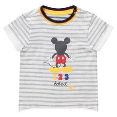 Gestreept T-shirt met korte mouwen en print van Mickey ©Disney