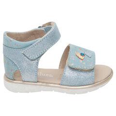 Blauwe sandalen met klittenbandsluiting en inzetstukken met pailletjes en hartjes