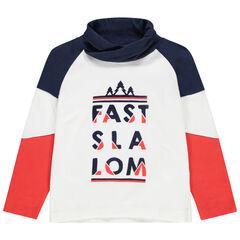 T-shirt manches longues en jersey col roulé à message printé