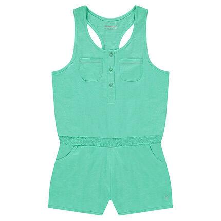 Junior - Korte jumpsuit zonder mouwen en met elastische taille