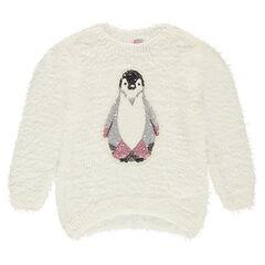 Pull en tricot effet poil avec pingouin en sequins