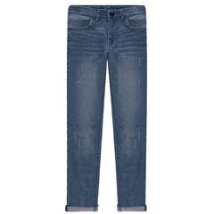 Junior - Slim fit jeans met used en crinkle effect