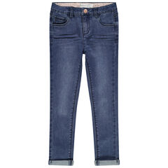 Jean effet used et crinkle coupe skinny
