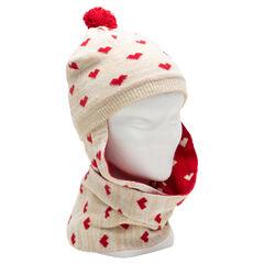 Bonnet écharpe en tricot imprimé