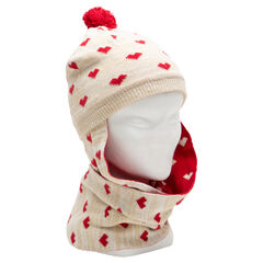 Muts/sjaal van tricot met print