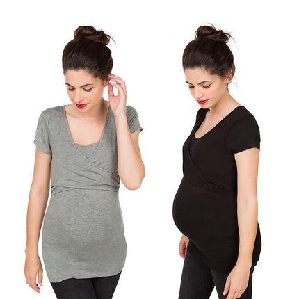 Set met 2 t-shirts met korte mouwen voor tijdens de zwangerschap en de borstvoeding