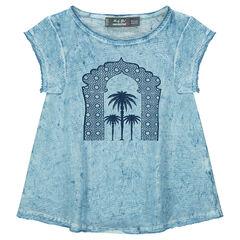 Tee-shirt manches courtes en jersey surteint avec palmiers printés