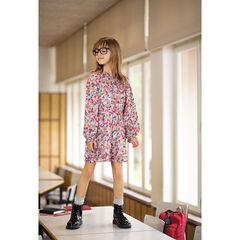 Junior - Robe manches longues à fleurs et col fantaisie