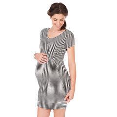 Robe de grossesse manches courtes rayée avec effet noué