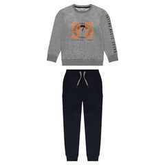 Junior - Jogging van molton met broek met zakken en trui met print
