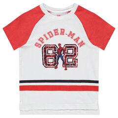 Tee-shirt manches courtes avec bandes et ©Marvel Spiderman printé