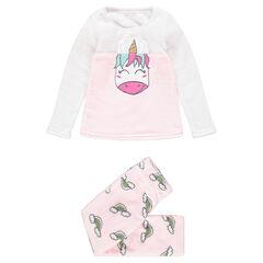 Pyjama van sherpastof met geborduurde eenhoorn en regenbogen
