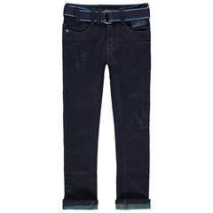 Jeans met used en crinkle effect, getinte omslag en afneembare riem
