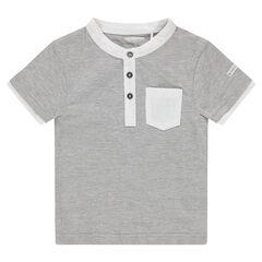 T-shirt met korte mouwen van jerseystof met decoratieve kraag en zakje