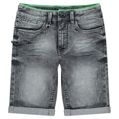 Junior - Bermuda en jeans gris effet used avec chaînette amovible