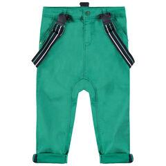 Broek van groen katoen met afneembare, elastische schouderbandjes