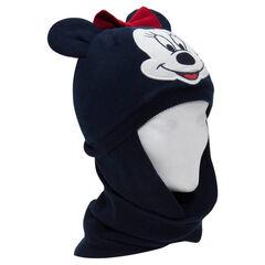 Bonnet snood en tricot et micropolaire Minnie avec oreilles en relief