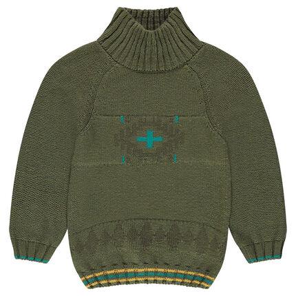 Pull en tricot avec col montant et motif jacquard