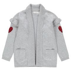 Gilet en tricot gris chiné avec coeurs en sequins