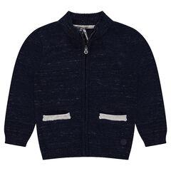 Vest met ritssluiting en zakken van gedraaide tricot