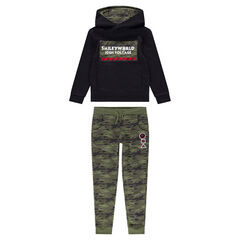 Junior - Jogging en molleton avec sweat printé et pantalon army all-over ©Smiley