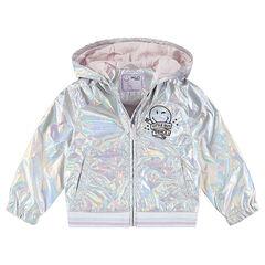 Blouson iridescent doublé jersey avec motif ©Smiley brodé