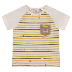 Tee-shirt manches courtes en jersey rayé avec poche printée