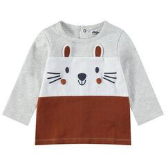 Driekleurig T-shirt met lange mouwen van jerseystof met print met details
