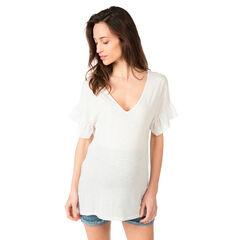 Tee-shirt de grossesse col V avec manches volantées