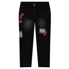 Jeans effet used avec broderies florales