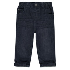 Jeans coupe droite effet used et crinkle