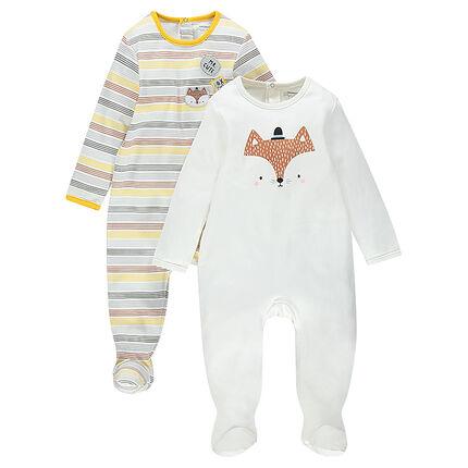 Set met 2 pyjama's in jerseystof: gestreept/effen met vossenprint