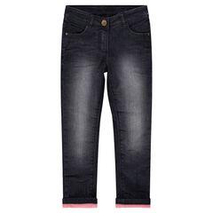 Jeans met used-effect en voering van fleece