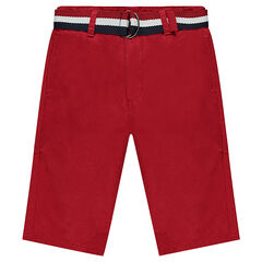 Junior - Bermuda en twill rouge avec ceinture amovible