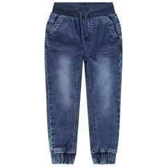 Jeans in battle-stijl met used effect en elastische taille