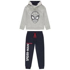Joggingbroek van molton met Spiderman-motief van magische lovertjes
