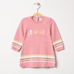 Robe manches longues en tricot avec message brodé et rayures