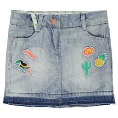 Jupe en jeans avec patchs fantaisie