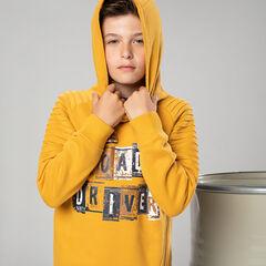 Junior - Sweat à capuche en molleton avec zip fantaisie et texte printé