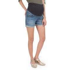 Short de grossesse en jeans avec franges