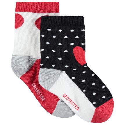 Set met 2 paar sokken met contrasterende stippen