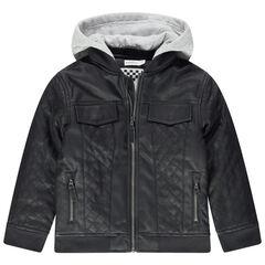 Blouson en simili cuir à croisillons et capuche en jersey