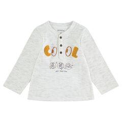 T-shirt met lange mouwen van ribstof met letters van bouclé